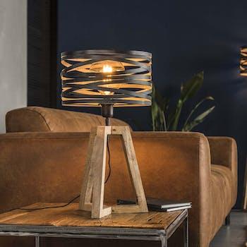 Lampe moderne grise effet ruban pied bois naturel LUCKNOW