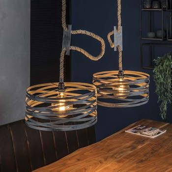 Suspension industrielle 2 lampes grises effet ruban et corde LUCKNOW