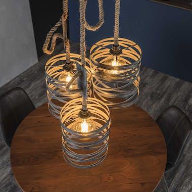 Suspension industrielle 3 lampes grises effet ruban et corde LUCKNOW