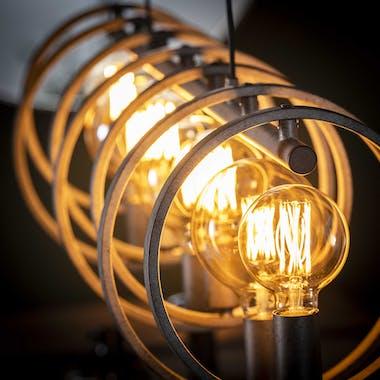Suspension industrielle 7 lampes cercles finition argent vieilli RALF