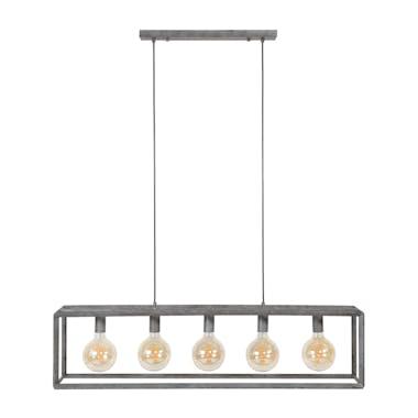 Suspension industrielle 5 lampes cadre argent vieilli RALF