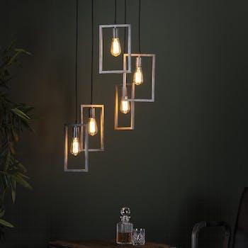 Suspension industrielle 5 lampes graphiques étagées argent vieilli RALF