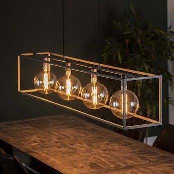Suspension industrielle 4 lampes cadre rectangulaire argent vieilli RALF