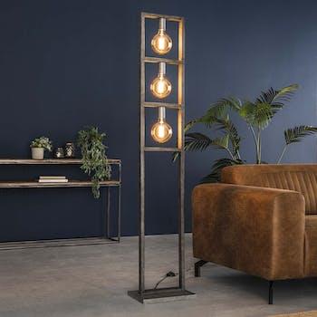 Lampadaire industriel 3 lampes étagées arceau argent vieilli TRIBECA