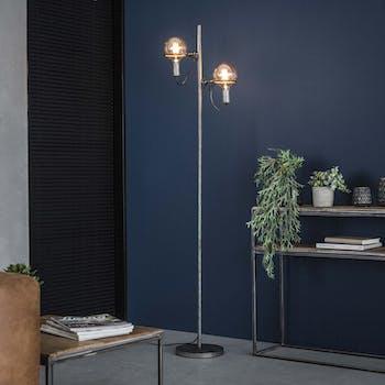 Lampadaire industriel 2 lampes style baladeuses argent vieilli TRIBECA