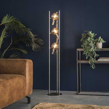 Lampadaire industriel 3 lampes style baladeuses argent vieilli TRIBECA