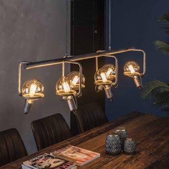 Suspension industrielle 6 lampes style baladeuses argent vieilli TRIBECA