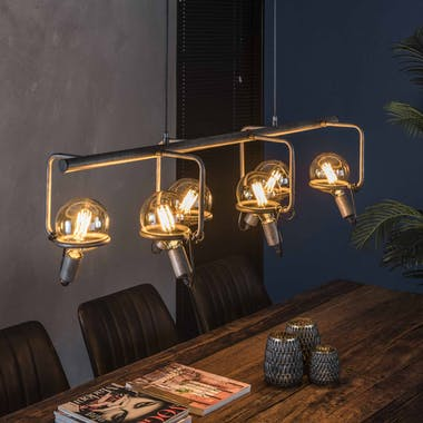 Suspension industrielle 6 lampes style baladeuses argent vieilli TRIBECA