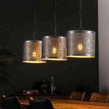 Suspension industrielle 3 lampes métal perforé TRIBECA