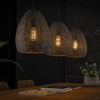 Suspension contemporaine 3 lampes ovales effet maille TRIBECA