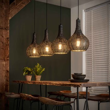 Suspension contemporaine 4 lampes gouttes effet maille TRIBECA