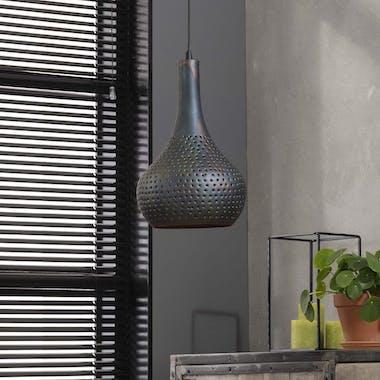 Suspension moderne 1 lampe forme goutte finition brun noir JAVA
