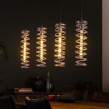 Suspension industrielle 4 lampes forme ressort gris vieilli RALF