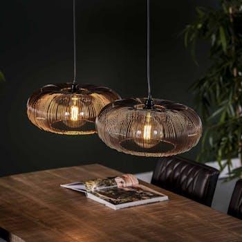 Suspension contemporaine 2 lampes style disques RALF