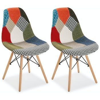 Chaise scandinave patchwork mix tissus 2 (lot de 2)