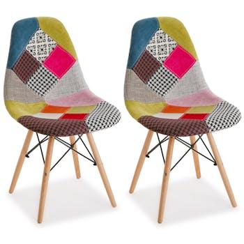Chaise scandinave patchwork mix tissus 1 (lot de 2)