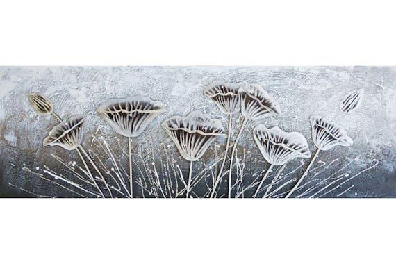 Tableau fleurs blanc et gris métal