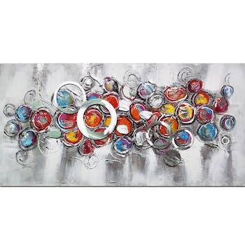 Tableau abstrait cercles multicolores et métalliques