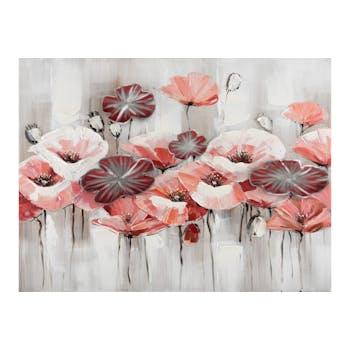 Tableau fleurs roses et rouges fond gris