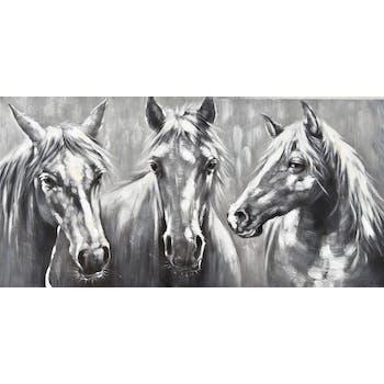Tableau animaux 3 chevaux gris