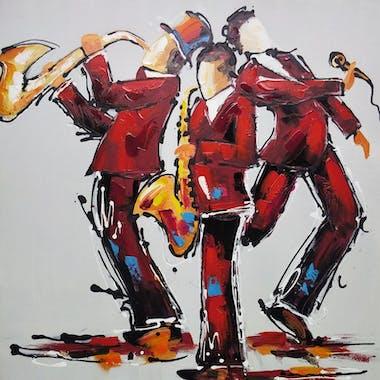 Tableau musique 3 musiciens en concert