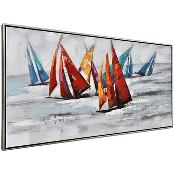 Tableau bateaux colorés cadre aluminium