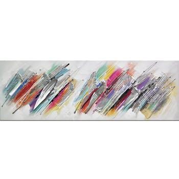 Tableau abstrait tracés diagonaux multicolores