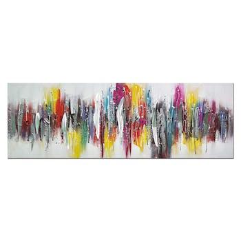 Tableau abstrait tracés multicolores verticaux