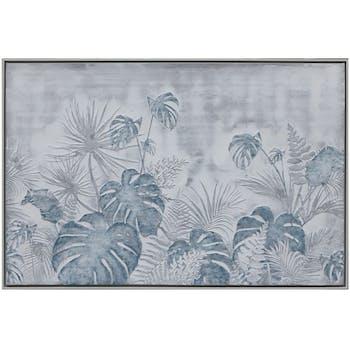 Tableau nature feuilles en relief cadre blanc