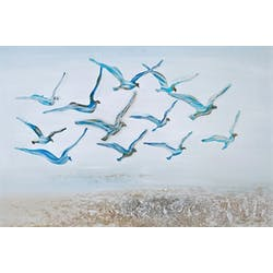 Tableau animaux oiseaux bleus dans ciel
