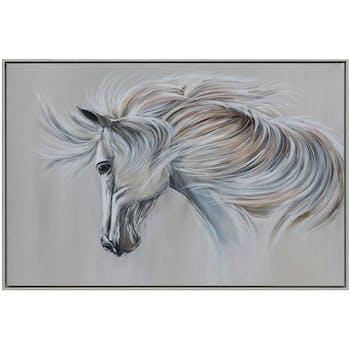 Tableau animaux cheval blanc au vent cadre blanc
