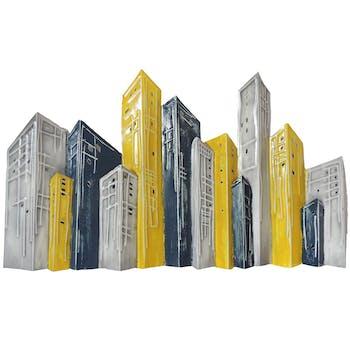 Décoration murale métal buildings gris et jaunes