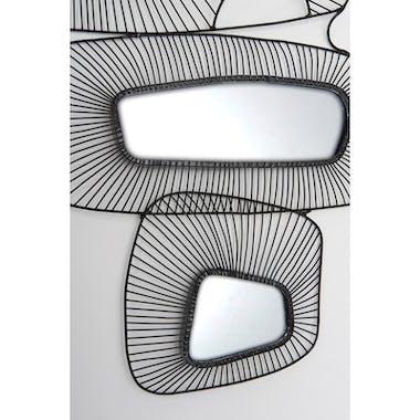 Décoration murale abstraite miroir et fils métalliques