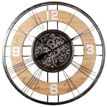 Horloge murale industrielle mécanisme bois métal