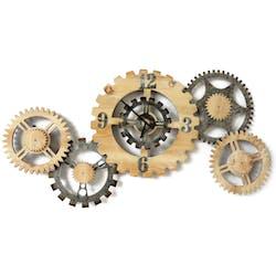 Horloge engrenage métal et bois