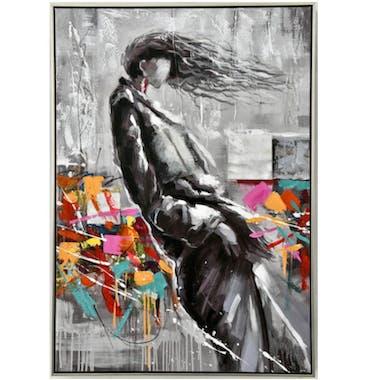 Tableau femme dans vent fond gris et coloré