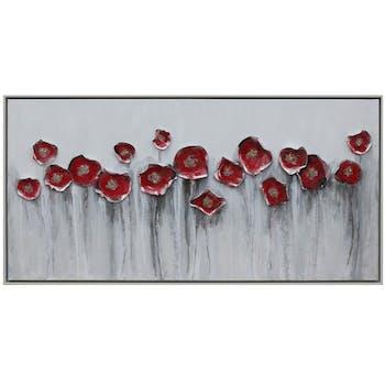 Tableau fleurs coquelicots rouges en relief cadre blanc
