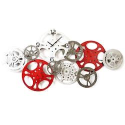Horloge de cuisine engrenages rouges gris