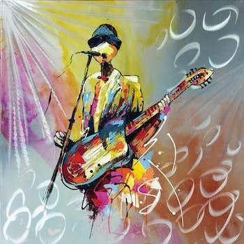 Tableau musique bassiste effet métal