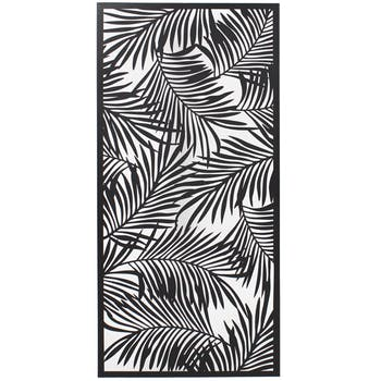 Tableau en métal noir feuilles de palmier
