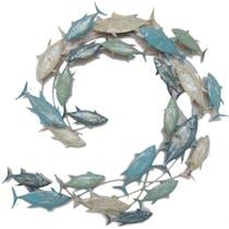 Décoration murale en métal poissons en cercle