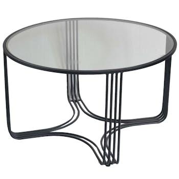 Table basse ronde verre métal HIMALAYA