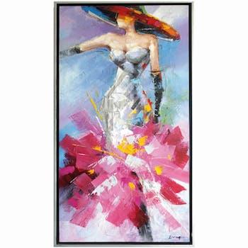 Tableau silhouette femme robe fuchsia