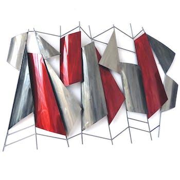 Décoration murale métal formes géométriques rouge gris