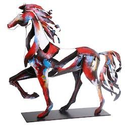 Objet déco salon cheval en mouvement métal peint