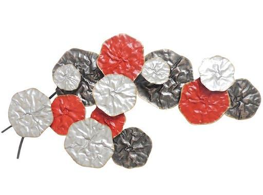 Décoration murale métal bouquet abstrait rouge gris