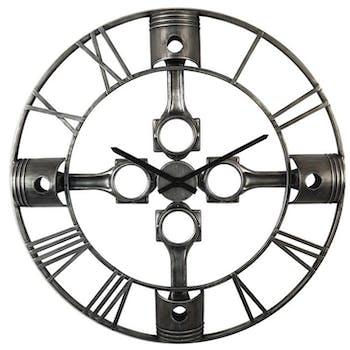 Horloge murale industrielle décor pistons