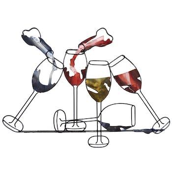 Décoration murale en métal verres de vin