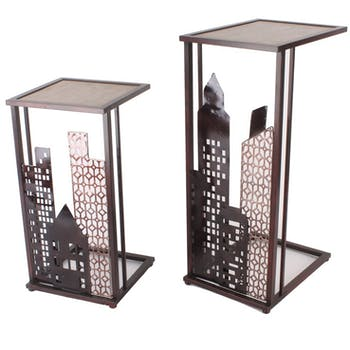 Sellette métal moderne buildings HIMALAYA (lot de 2)