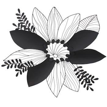 Décoration murale en métal fleur noire